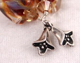 Orange Brown Earrings, Lampwork Glass Chevron, Silver Flowers