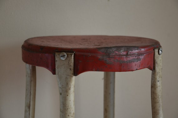 RESERVED.  Vintage Cosco Red Metal Stool.  Industrial Decor.  Mid Century Decor.