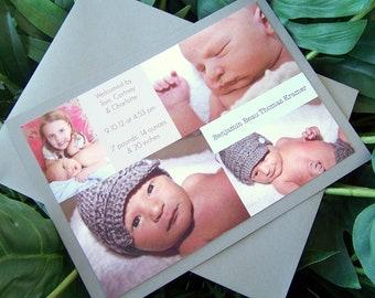 Newborn Announcement  Baby Announcement  , Picture Announcement  , Grey, blue Announcement