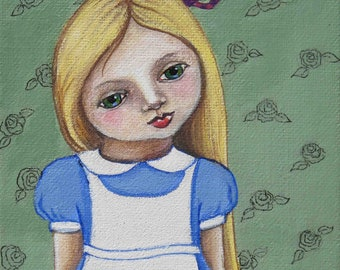 Alice in Wonderland with Cheshire Cat Teapot - 5 x 7 inch Original Acrylic Painting