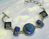 Blue Egyptian Bracelet 1920s Sterling Silver King Tut Art Deco Jewelry
