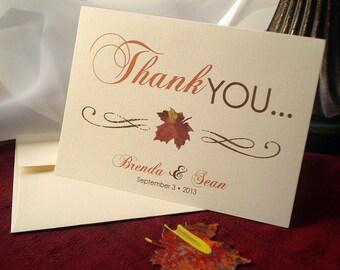 Leaf It Up To Me Autumn Leaf Wedding Thank You Card Set - Sample