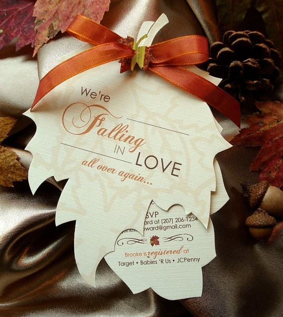 fall baby shower invitations autumn shower invitations leaf, Baby shower invitations
