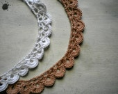 crochet necklace for woman  in pink or white cotton, victorian style,  handmade -