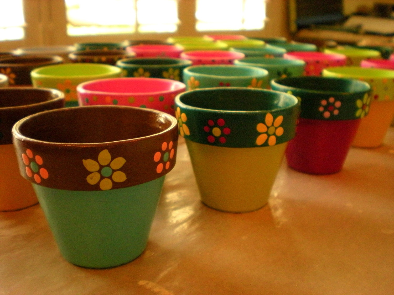 Small Flower Pots Hand Painted Wedding By HappyMooseGardenArt
