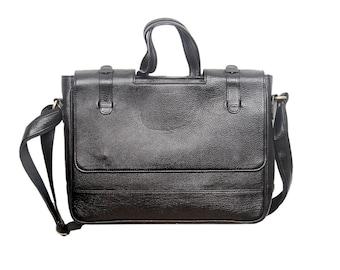 Full Grain Leather Laptop/ Messenger/Office Bag-Black