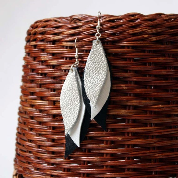 Leather Earrings in Silver White and Black - Handmade