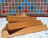 Wood Scrabble tile racks.  Set of 10 wooden tile holders.