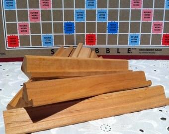 Wood Scrabble tile racks.  Set of 10 wooden tile holders.
