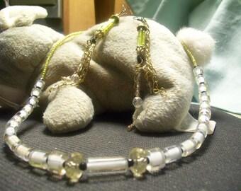 Handmade OOAK #15 Yellow Furnance Glass Beaded Necklace and Earring Set