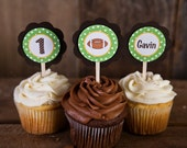 Football CUPCAKE TOPPERS - Lil Quarterback Happy Birthday Party Decorations in Green & Brown