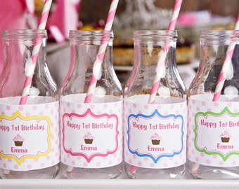 Cupcake Themed Water Bottle Labels - Cupcake Party Supplies Birthday Party Decorations - Sweet Treats Birthday Party (12)