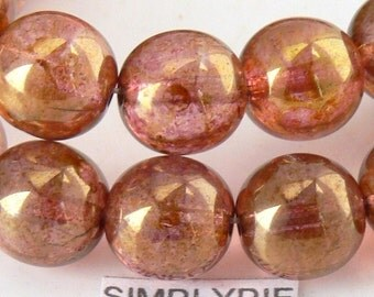 Rose Gold Luster, Czech Glass Beads, 10mm 12 Round Druk