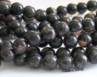 10mm Round Oolitic Jasper Gemstone Beads 16-Inch Long Strand