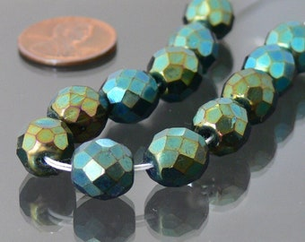 Iris Green Czech Fire Polished Glass Beads 10mm 12 Faceted Round Beads