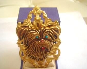 Dog  Blue Rhinestone Brooch Gold Tone
