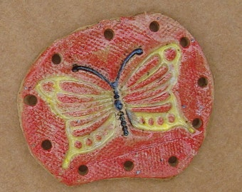 Butterfly Ceramic Base for Pine Needle BasketYellow Red