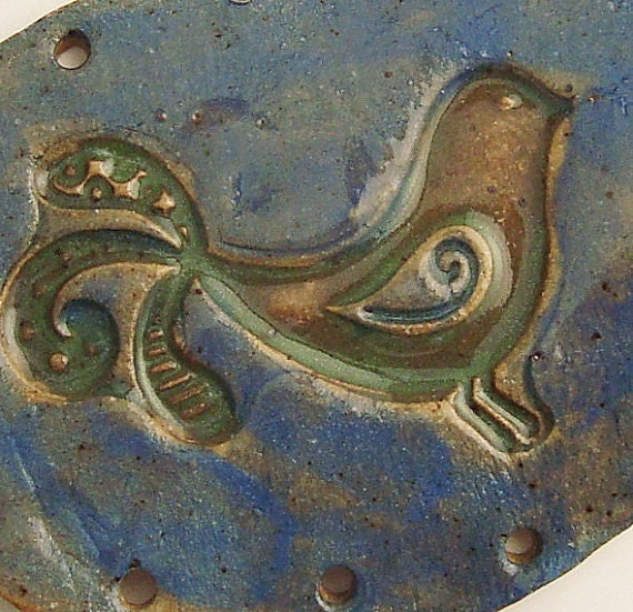 SALE Curly Tailed Bird Pottery Base for Coiled Basket Green and Blue