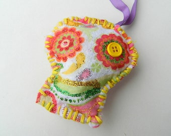 Halloween/ Day of the Dead Painted Felt Sugar Skull Ornament: