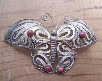 Mexico Silver Filigree Butterfly Brooch Large VINTAGE by Plantdreaming