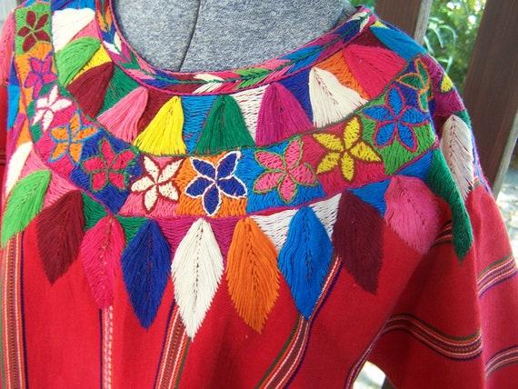 Huipil Guatemalan Vintage Cotton embroidered shirt ethnic