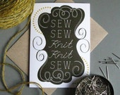 Sew sew knit knit sew greeting card