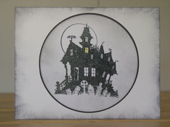 Halloween Haunted House and Graveyard,  Handmade Card and Envelope