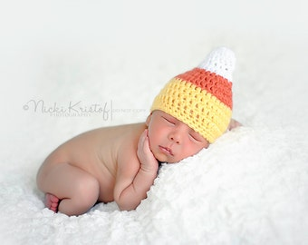 Candy Corn Hat, Newborn Halloween Photo Prop, newborn costume, Halloween costume, baby girl hat, baby boy hat, fall hat Halloween photo prop
