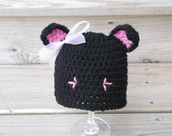 Crochet Newborn Cat Hat, Crochet Newborn Halloween Costume, Photography Prop