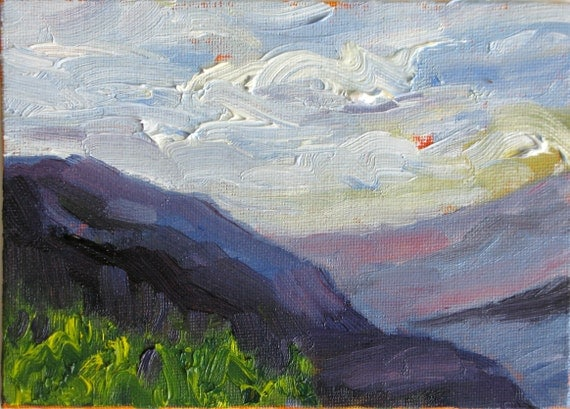 Mountains and Sky, an original 5 x 7 oil painting on canvas board by Yvonne Wagner. Mountains. Blue Mountains. Purple. Blue.