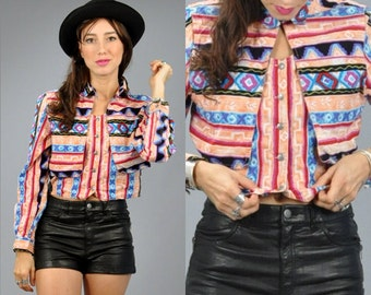 Vtg 1990's SOUTHWESTERN Coral and Turquoise CROPPED Tribal Blouse Jacket XS