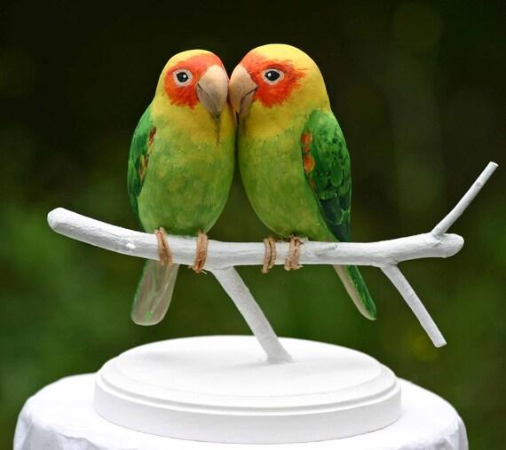 Carolina Parakeet Love Birds Handmade Wedding Cake Topper