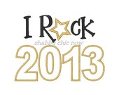 I Rock 2013 Applique Embroidery Design (2 digital files) - shabbychicnow