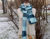 Extra Long Scarf in Blue Patchwork Scarf Upcycled Sweater Upcycled Clothing Eco Friendly Funky Style Winter Fashion