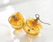 Amber Ruffled Hollow Glass Earrings, Gold Transparent,