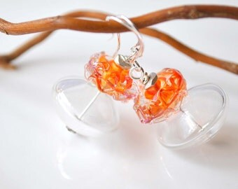 Clear Tangerine Glass Earrings, Lampwork Glass Earrings, Light Weight Earrings, Hollow Glass Earrings