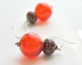 Red Glitter Earrings, Long Glass Dangle Earrings, Hollow Glass Bead Earrings