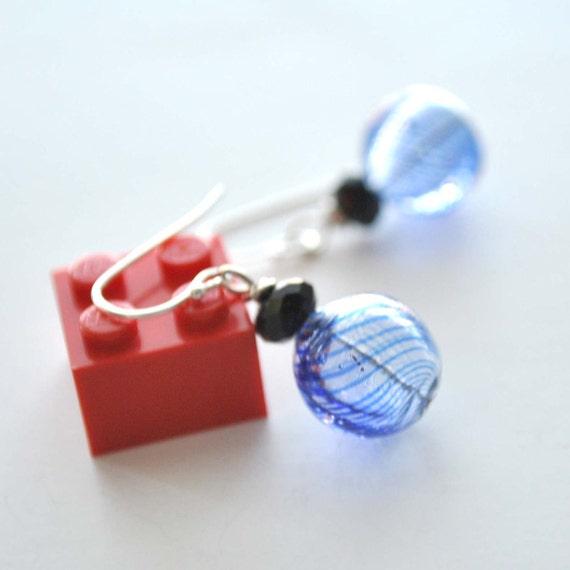 Coblat Blue Swirl Hollow Glass Earrings