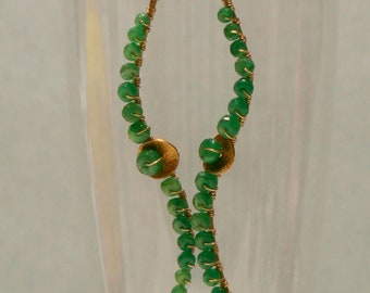 Artisan Emerald and 14kt Gold Filled Wave Earrings-Luxe Collection-Gifts Under 100