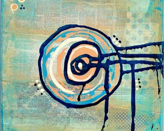 "Original Mixed Media on 8x8 Canvas - Painting Home Decor Artwork Abstract - ""Abstract Circle 1"""