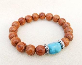 Honey Wood and Turquoise Blue Jasper Stone Mala Inspired Stacking Bracelet, Stretch Bracelet, Zen Yoga Meditation, Handmade Bracelet Jewelry