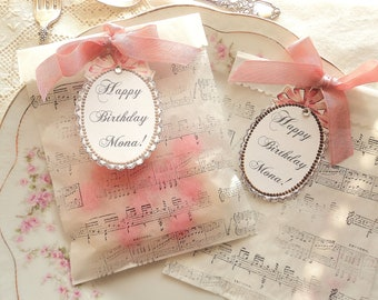 La Vie en Rose. Six Personalized Glassine Favor Bags with Rose Ribbon and Sheet Music Print