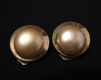 Vintage Round Gold Tone and White Faux Pearl Clip Earrings