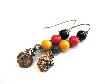Vintage Black Red and Yellow Beaded German Coin Dangle Pierced Earrings
