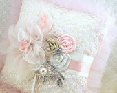 Ring Bearer Pillow, Pink, Champagne, Tan, Beige, Ivory, Vintage Style, Elegant Wedding, Bridal, Lace Pillow, Brooch, Tulle, Pearls, Crystals