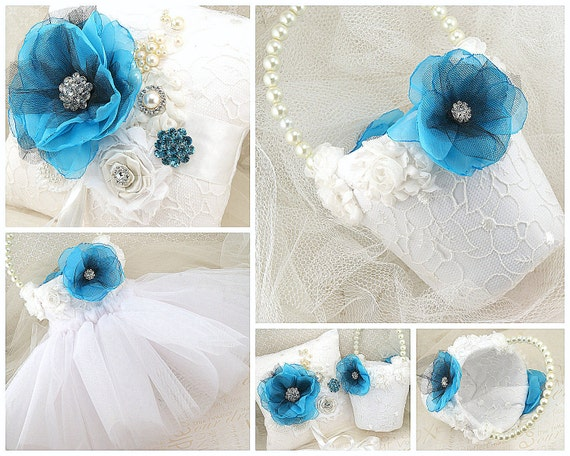 Flower Girl Basket, Ring Bearer Pillow, White, Aqua, Turquoise, Black, Vintage Style, Elegant Wedding, Lace, Crystals, Pearls, Brooch