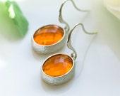 Orange earrings, Orange wedding, Orange bridesmiads earrings, Oval earrings, Orange Dangling earrings, Orange and silver earrings