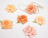 SALE - SMELL the ROSES 2 - Glittered Paper Flower Headband, Choose Pumpkin, Amber, Rose, Orange, Apricot, or Peach