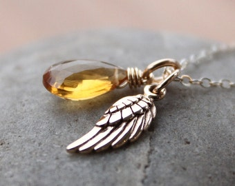 Gold Citrine and Wing Charm Necklace - November Birthstone Necklace - 14KT Gold Fill