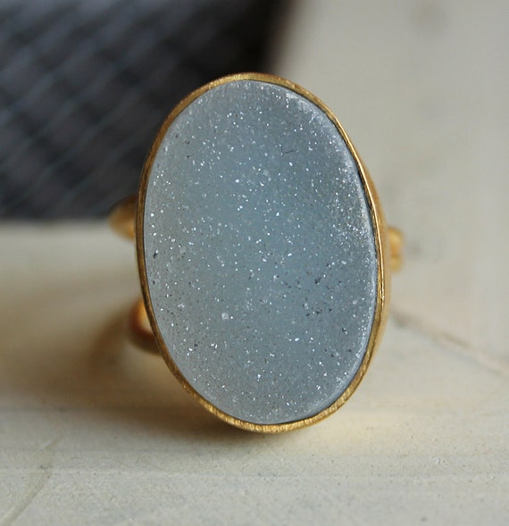 Aqua Blue Agate Druzy Ring - Adjustable Gemstone Ring - Ice Blue